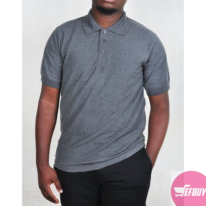 Short sleeved polo t-shirt-Grey.